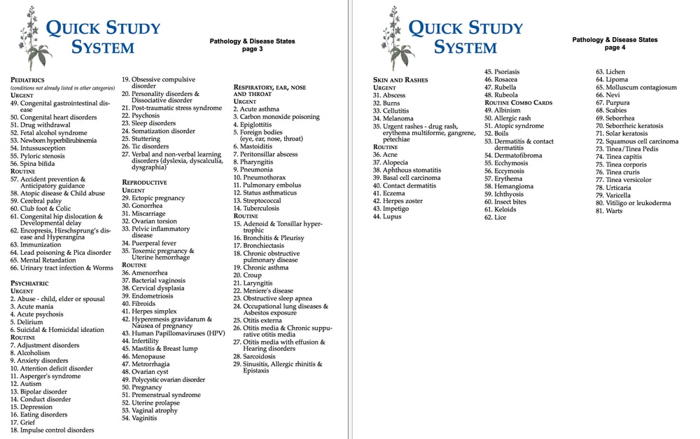 Quick Study System pathology list by Gwynn Cadwallader: for Council for Homeopathic Certification exam