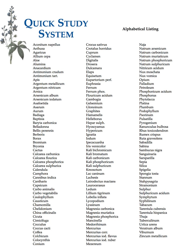 Quick Study System remedy list by Gwynn Cadwallader: for Council for Homeopathic Certification exam